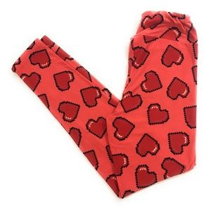 LuLaRoe Coral With Heart Print Leggings (One Size)
